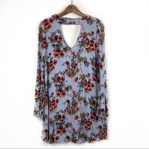 Mossimo Supply Co. Floral Light Blue Dress Small